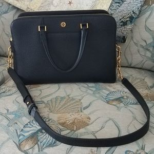 NWT Tory Burch Georgia Pebbled Double Zip satchel